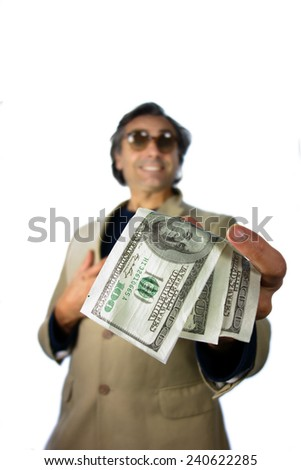 man holding dollar banknotes over white background - stock photo