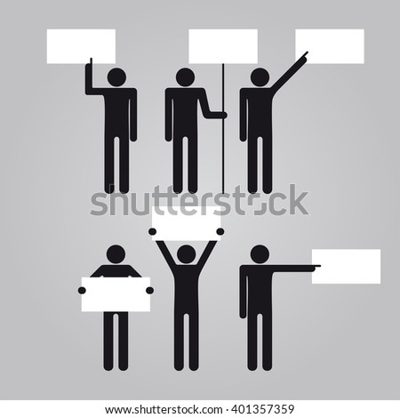 Man holding empty blank signboard banner. Raster version.