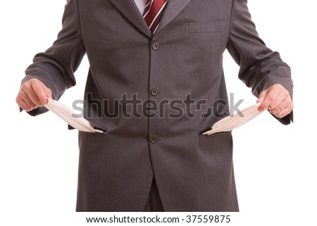 Man holding empty pockets, isolated over white background
