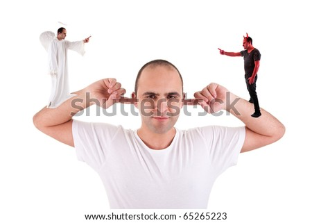 man holding fingers in his ears, not listening, discussion between the devil and angel, on white - stock photo