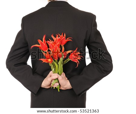 Man Holding Flowers isolated on white - stock photo