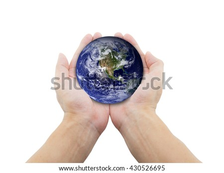 man holding globe on her hands. Elements of this image furnished by NASA - stock photo