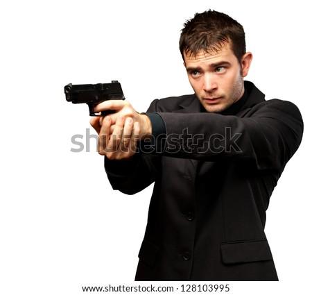 Man Holding Gun Isolated On White Background - stock photo
