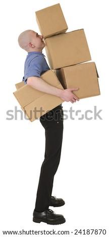 Man holding heap cardboard boxes on white - stock photo