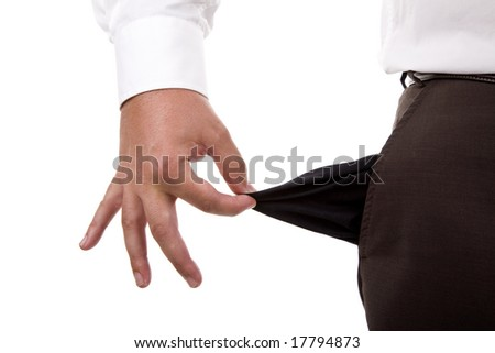 man holding his empty pocket, isolated on white