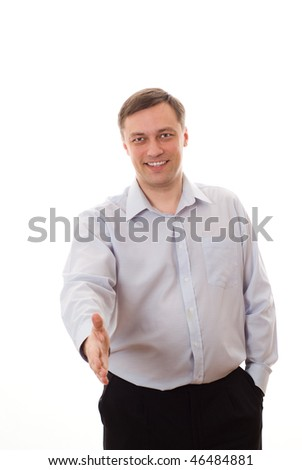 man holding his thumb up standing on white background