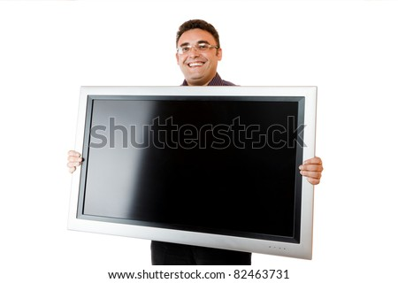 Man holding in hands lcd tv isolated over white background - stock photo