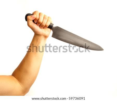 man holding knife - stock photo