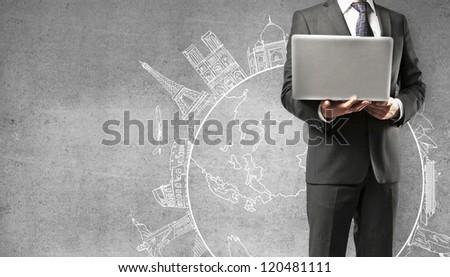 man holding laptop traveling concept - stock photo