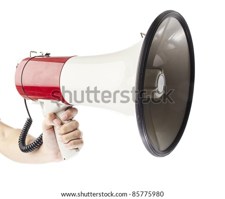 man holding megaphone against a white background - stock photo
