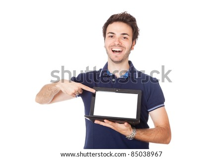 Man Holding Netbook with Blank Screen - stock photo