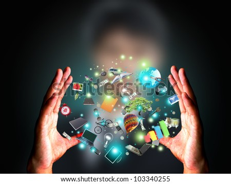 Man holding object - stock photo