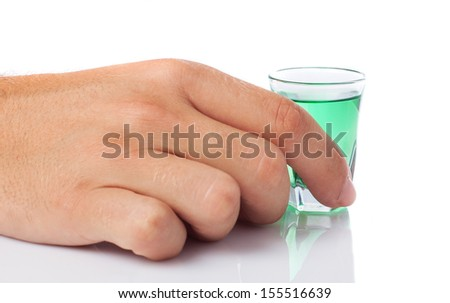 man holding one shot on a white background - stock photo