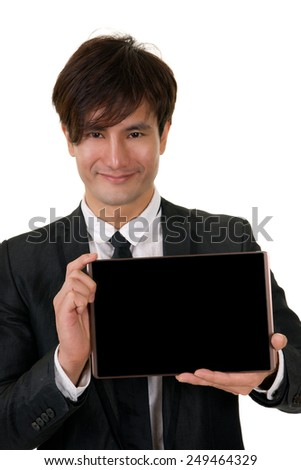 Man holding pad with black and smiling, closeup portrait on white background. (This tablet is not iPad)