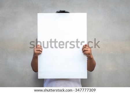 man holding paper isolated on gray