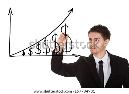 Man holding pen drawing dollar growth chart on white screen - stock photo