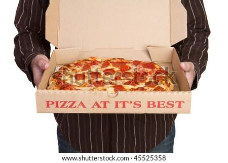 Man Holding Pizza - stock photo