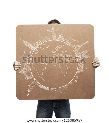 man holding placard with traveling concept - stock photo