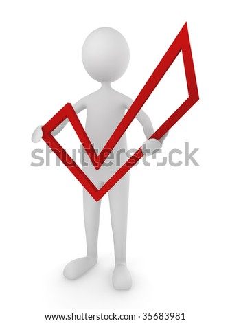 Man holding red check mark - stock photo