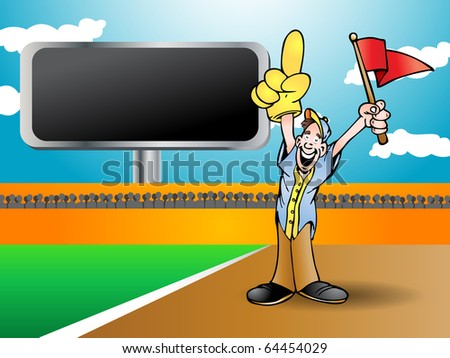man holding red flag cheering his team to win from side field - stock photo