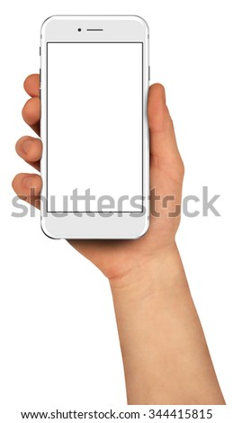 Man holding smartphone with blank screen. - stock photo