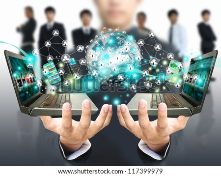 Man holding social network - stock photo