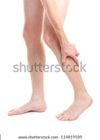 man holding sore knee, isolated on white - stock photo