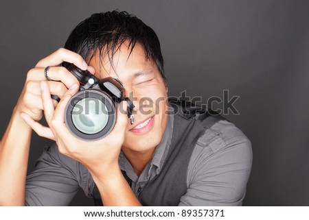 Man holding space for business card - stock photo
