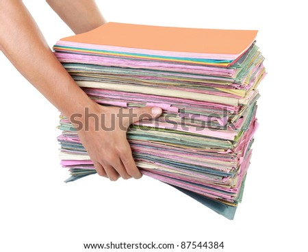 man holding stack of old documents and folders Isolated on white background