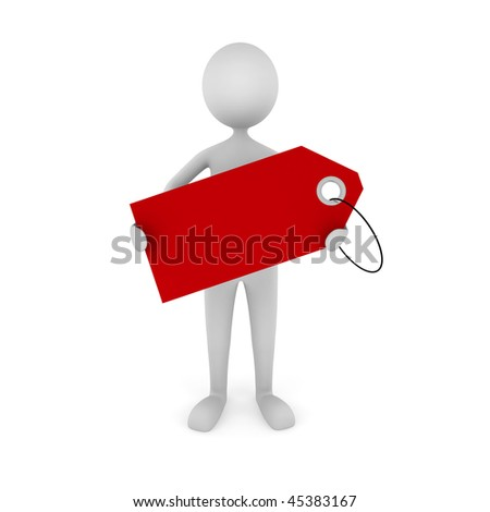 Man Holding Tag. 3D man holding empty red tag. Great concept for advertisement, sale announcement, etc. - stock photo