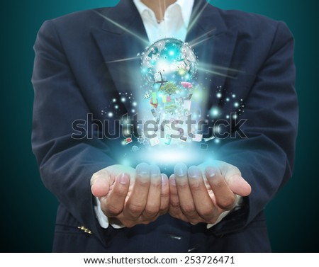 man holding technology