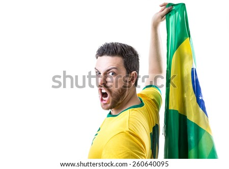 Man holding the Brazilian flag on white background