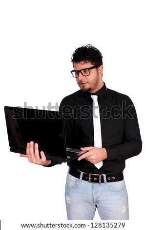 Man holding the lap top isolated on white - stock photo