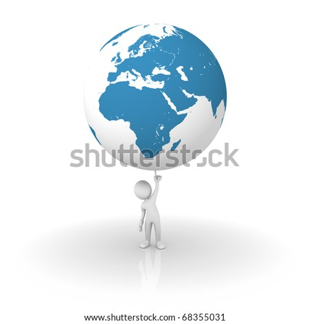 Man holding the planet earth: Europe and Africa side