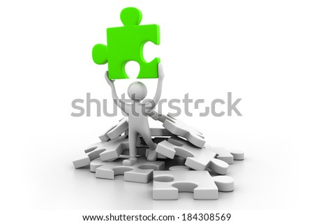 Man holding the puzzle.(business success  concept) - stock photo