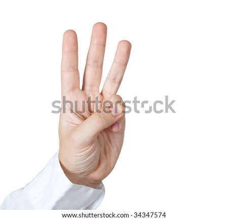 Man holding three fingers. Clipping path. - stock photo