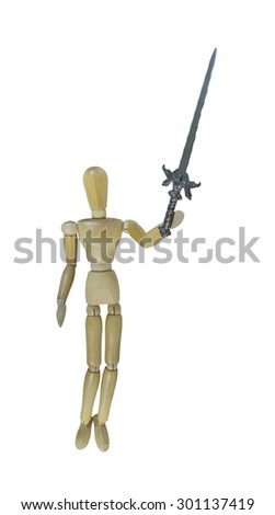 Man holding up a Sword into the Air as a sign of power and triumph - path included - stock photo
