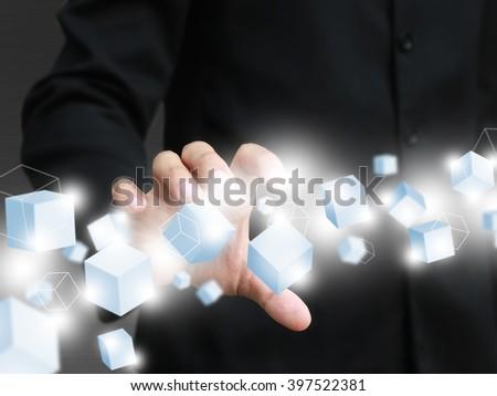 Man holding virtual box - stock photo