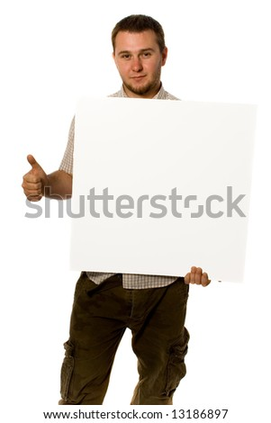 Man holding white banner - stock photo