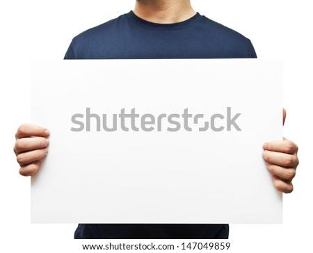 man holding white blank billboard - stock photo