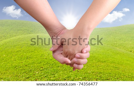 man holding woman hand - stock photo