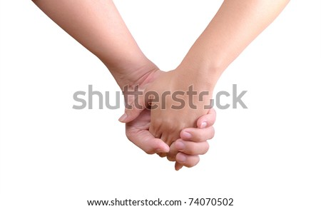 man holding woman hand isolated - stock photo