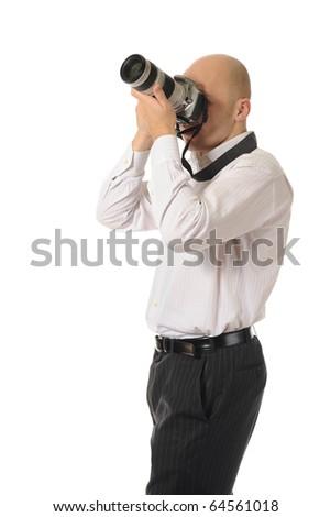 man holds a camera - stock photo