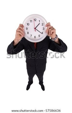 Man holds a clock