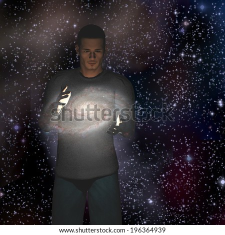 Man holds galaxy between his hands - stock photo