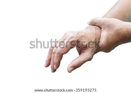 Man holds his hand acute pain in a wrist isolated on white background.This has clipping path - stock photo