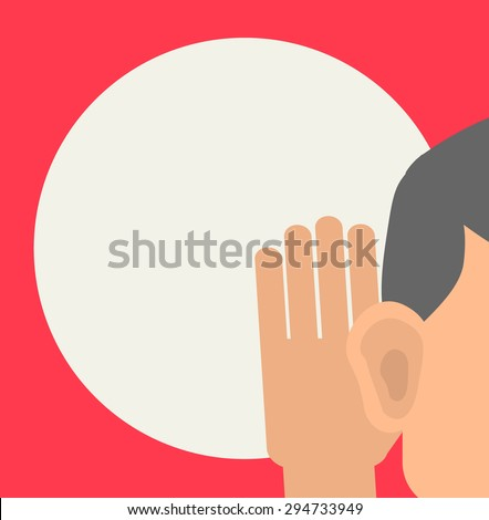 Man holds his hand near his ear and listening, illustration - stock photo