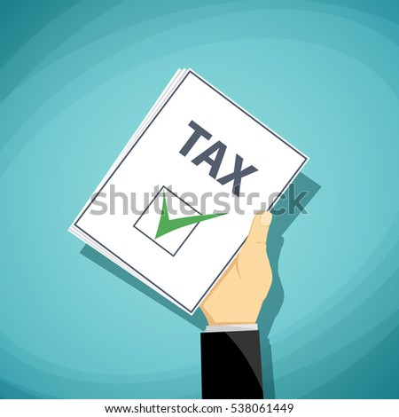 Man holds in his hand a tax declaration. Stock cartoon illustration.