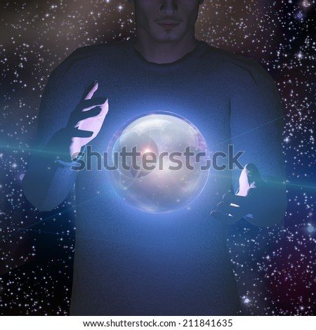 Man holds planet and space in sphere between his hands - stock photo