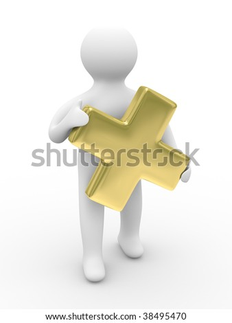 Man holds sign plus on white background. Isolated 3D image - stock photo